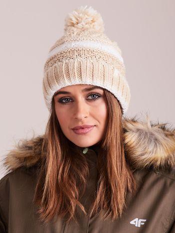 4F Beżowo-biała czapka zimowa z pomponem