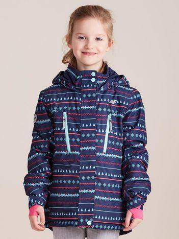 4F Granatowa kurtka narciarska dla dziewczynki we wzory