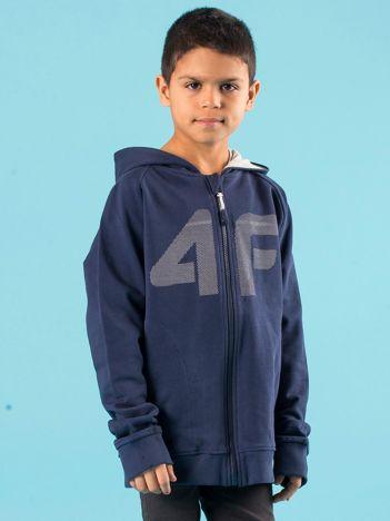 4F Granatowa rozpinana bluza chłopięca z kapturem