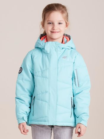 4F Miętowa pikowana kurtka narciarska dla dziewczynki