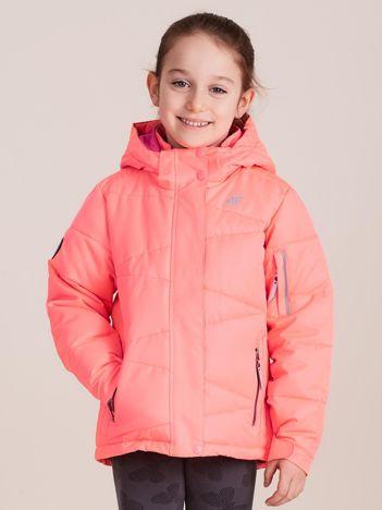 4F Neonowa koralowa pikowana kurtka narciarska dla dziewczynki