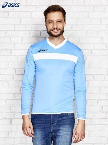 ASICS Jasnoniebieska bluzka męska z kontrastowymi lamówkami