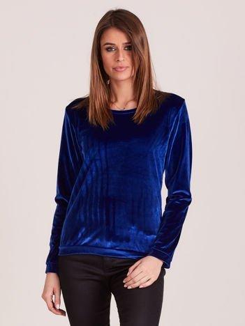 Aksamitna bluza damska niebieska