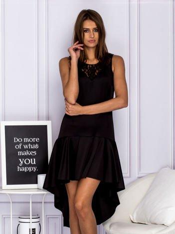 Asymetryczna sukienka wieczorowa z koronkowym dekoltem czarna