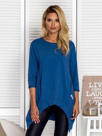 Asymetryczna tunika damska ciemnoniebieska