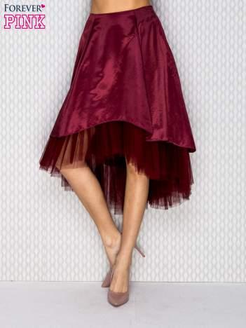 Atłasowa spódnica z tiulem bordowa