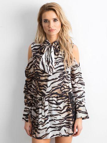 BY O LA LA Biało-czarna sukienka w tygrysie paski