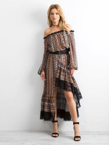 8d0696ed85 BY O LA LA Brązowa asymetryczna sukienka