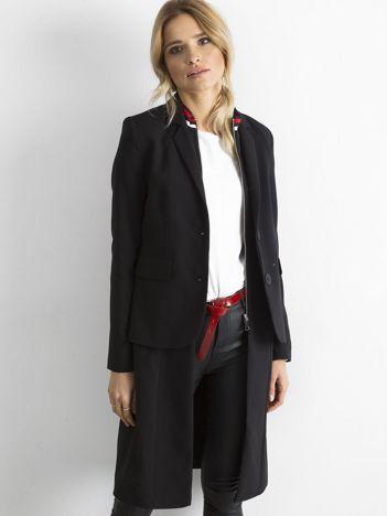 BY O LA LA Czarno-czerwony długi żakiet o kroju płaszcza
