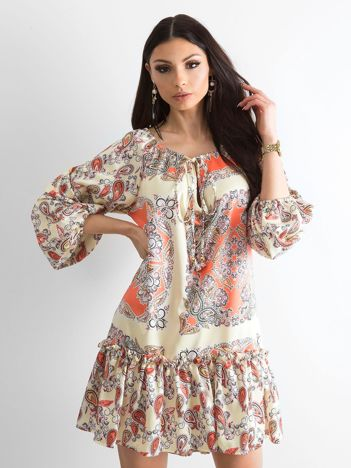 765d1acd40 BY O LA LA Jasnożółta sukienka we wzory