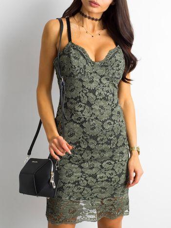 BY O LA LA Zielona sukienka koronkowa