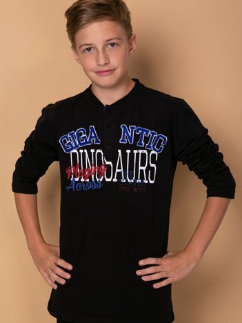Bawełniana bluzka chłopięca z napisami czarna