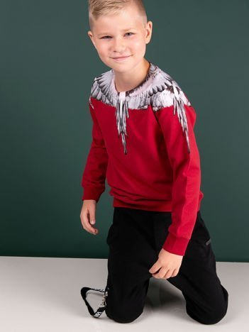 Bawełniana bordowa bluza dla chłopca z nadrukiem skrzydeł