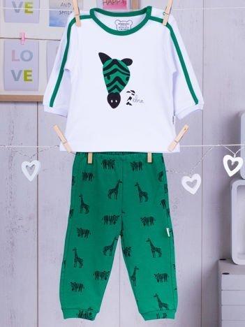 Bawełniana dwuczęściowa piżamka dziecięca z zeberką zielono-biała