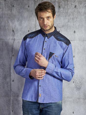 Bawełniana koszula męska ze wstawkami niebieska