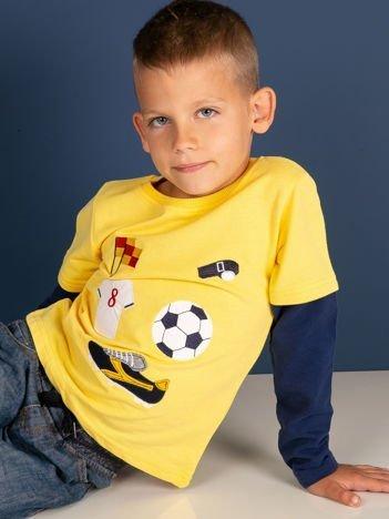 Bawełniana żółta bluzka dziecięca ze sportowymi naszywkami