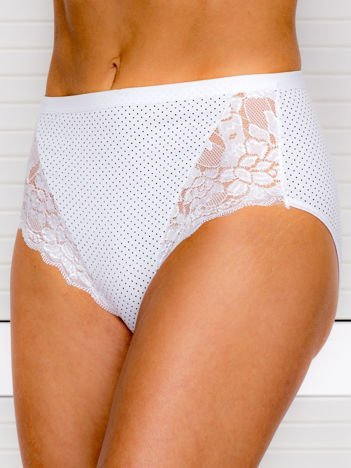 Bawełniane figi damskie high waist w kropki białe