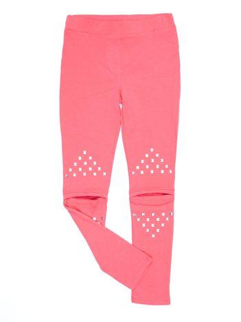 Bawełniane różowe legginsy dziewczęce z wycięciami na kolanach