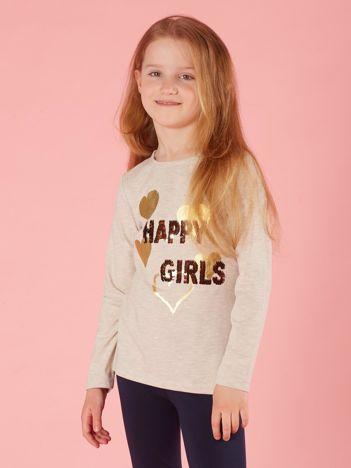 Beżowa bawełniana bluzka dla dziewczynki z cekinami
