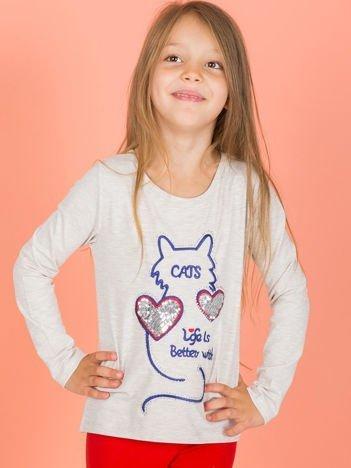 Beżowa bluzka dla dziewczynki z kotem