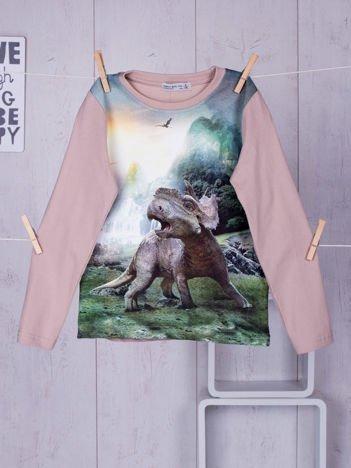 Beżowa bluzka dziecięca z nadrukiem dinozaura