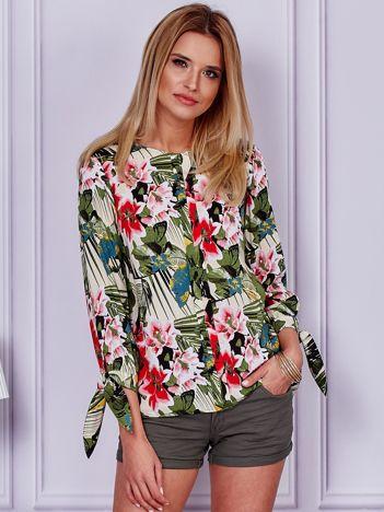 Beżowa bluzka tropical print z wiązanymi rękawami