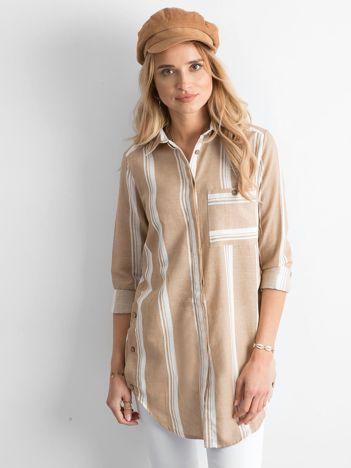 Beżowa koszula damska w paski