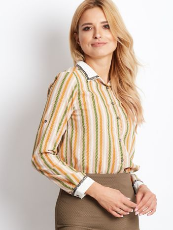 Beżowa koszula z biżuteryjnym kołnierzykiem