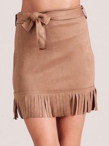 Beżowa spódnica z frędzlami