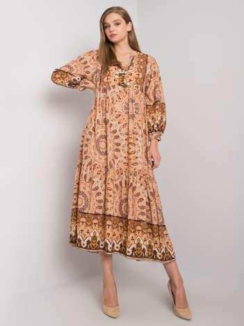 Beżowa sukienka w etniczne wzory Marcy OCH BELLA