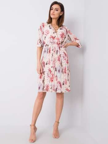 Beżowa sukienka z printami Valentine