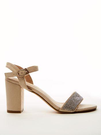 Beżowe sandały SABATINA z biżuteryjnym paskiem na przodzie