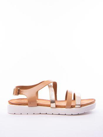 Beżowe sandały SABATINA z lakierowanym paskiem