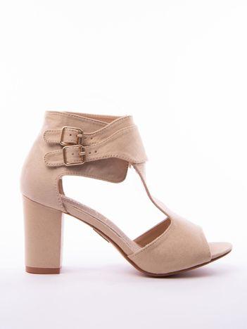 Beżowe sandały SABATINA z podwójnym zapięciem na paski