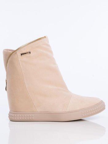 Beżowe sneakersy z ozdobnym suwakiem dookoła cholewki