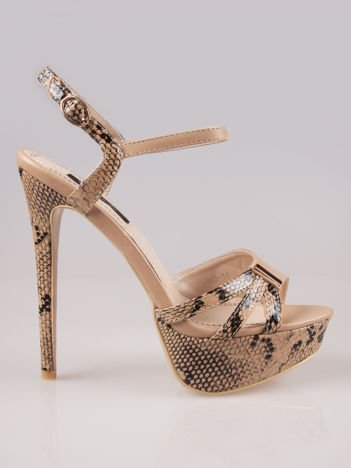 Beżowe wężowe sandały na szpilce zapinane na kostce