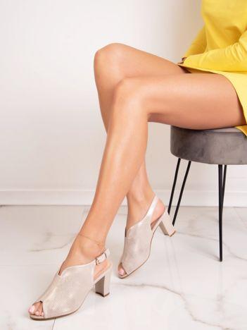 Beżowe zabudowane sandały SERGIO LEONE z ażurową cholewką