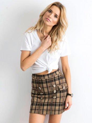 Beżowo-bordowa spódnica mini z błyszczącą nitką