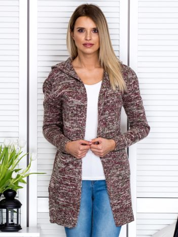 Beżowo-bordowy sweter damski z kapturem
