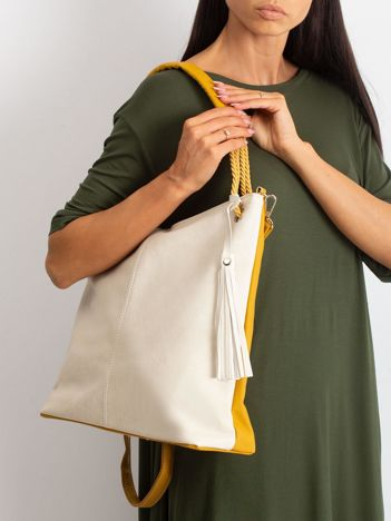 Beżowo-musztardowa torba z odpinanym paskiem