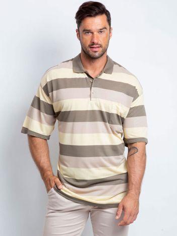 Beżowo-żółta koszulka polo męska plus size Turnover