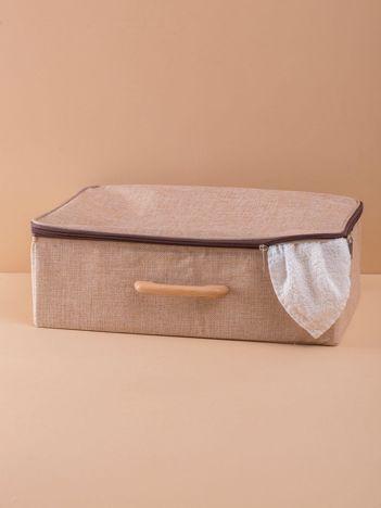Beżowy materiałowy organizer walizka