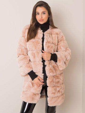 Beżowy płaszcz futrzany Greta