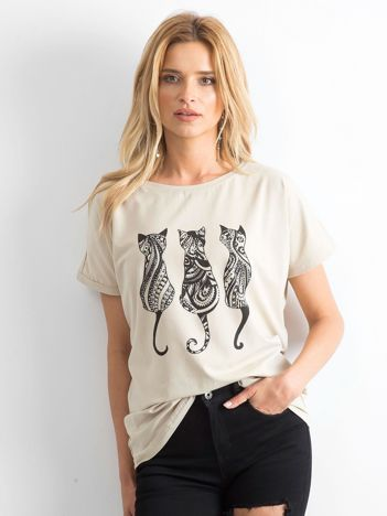 Beżowy t-shirt Kittens