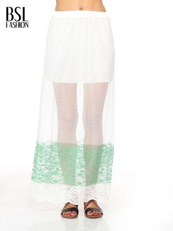 Biała ażurowa spódnica z zielonym pasem