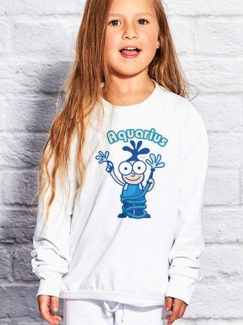 Biała bluza dziecięca znak zodiaku WODNIK
