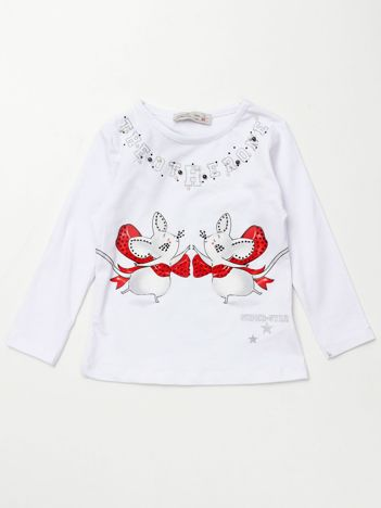 Biała bluzka dla dziewczynki z aplikacją