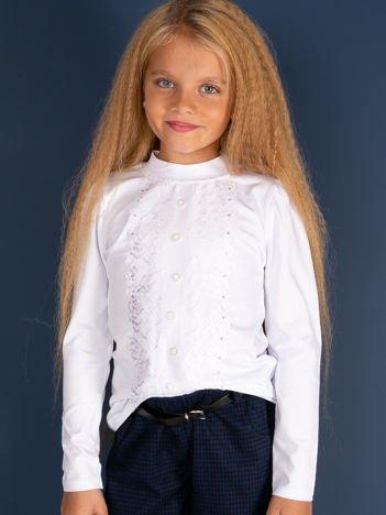 Biała bluzka dziewczęca z koronką i guzikami