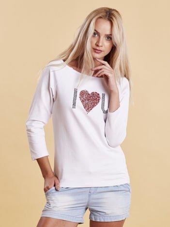 Biała bluzka z aplikacją serca