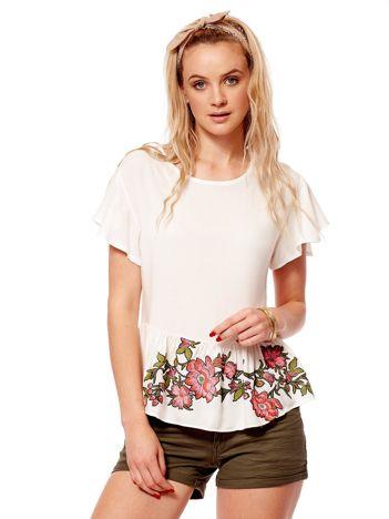 Biała bluzka z falbaną i kwiatowym printem